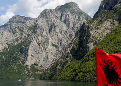 Albanian flag on Lake Koman ferry