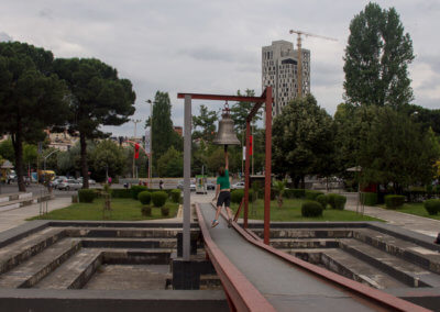 Ringing the peace bell in Tirana