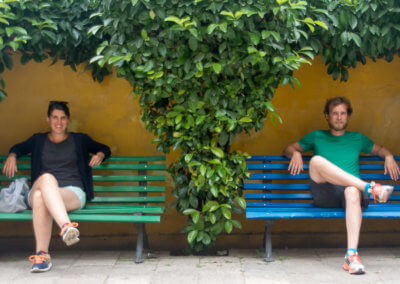 Sitting on a bench in Tirana