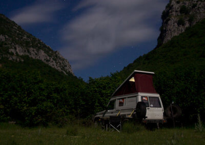 Camping in Albania by night