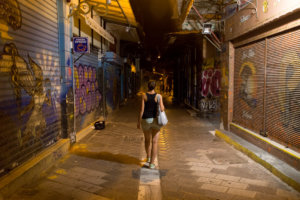 Anna walking in the streets while sightseeing Athens