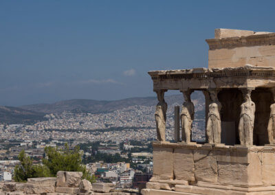Acropolis and view to the city in sightseeing Athens