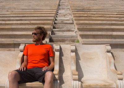 Heiner in the Panathenaic Stadium while sightseeing Athens