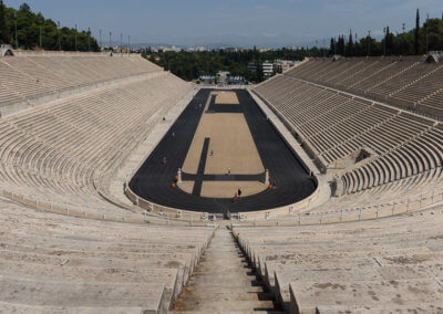 Panorama of Panathenaic Stadium while sightseeing Athens
