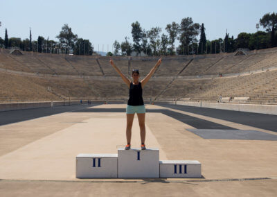 Anna in the Panathenaic Stadium while sightseeing Athens