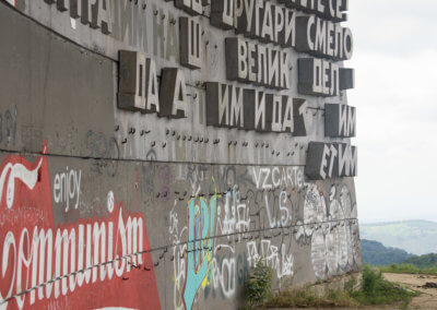 Concrete letters at Buzludzha's entrance