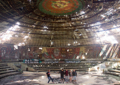 Group photo inside Buzludzha