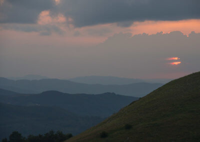 Sunset in the Balkan Mountains at Buzludzha