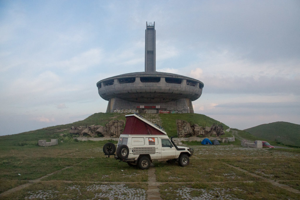 Camping in front of the Buzludzha monument