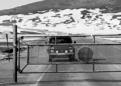 A Lada on Kyrgyz side of Turogart pass