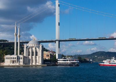 on the boat while sightseeing Istanbul
