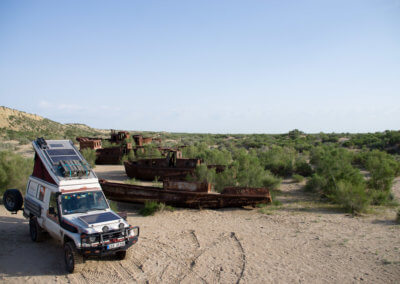 Camping in the Aral Sea ship graveyard in Moynaq.