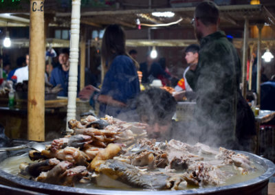 Food at Kashgar's night market: fried animal parts