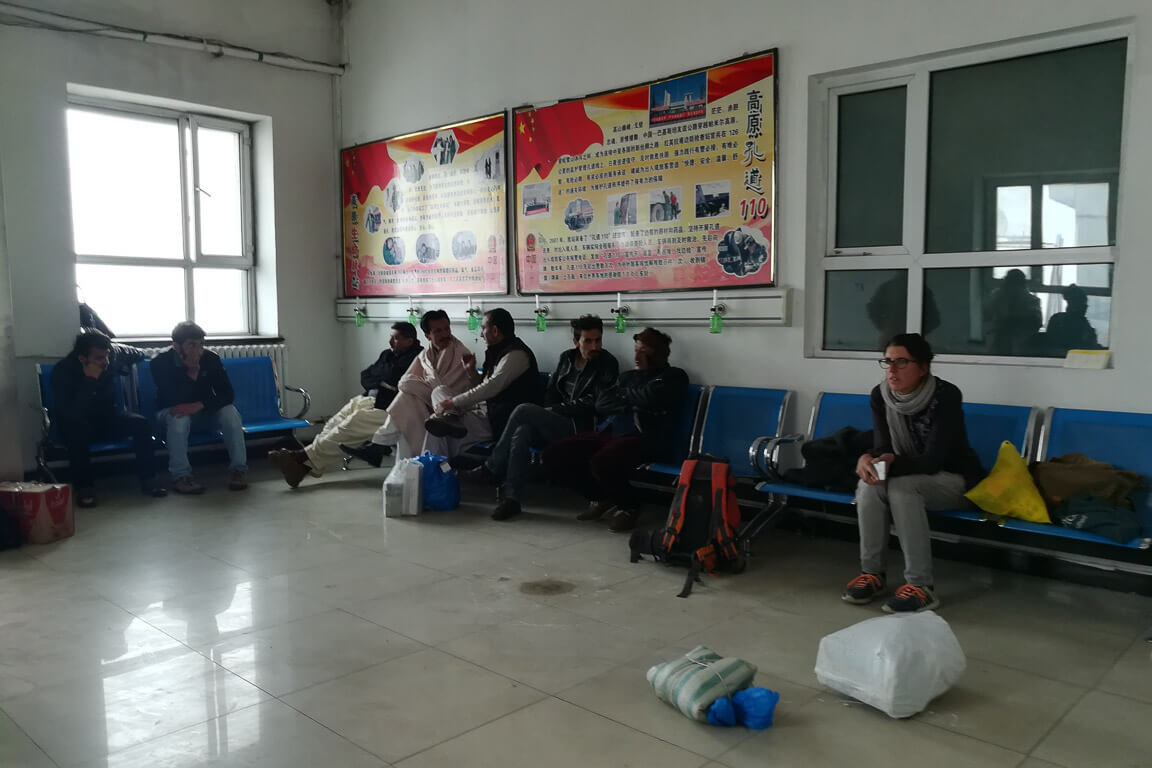 Waiting room on Chinese checkpoint on Khunjerab pass