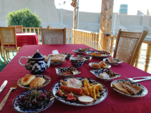 Breakfast in a hostel while traveling Uzbekistan.