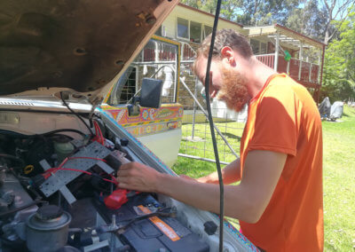 Changing the wiring of our expedition vehicle electrics in the engine bay