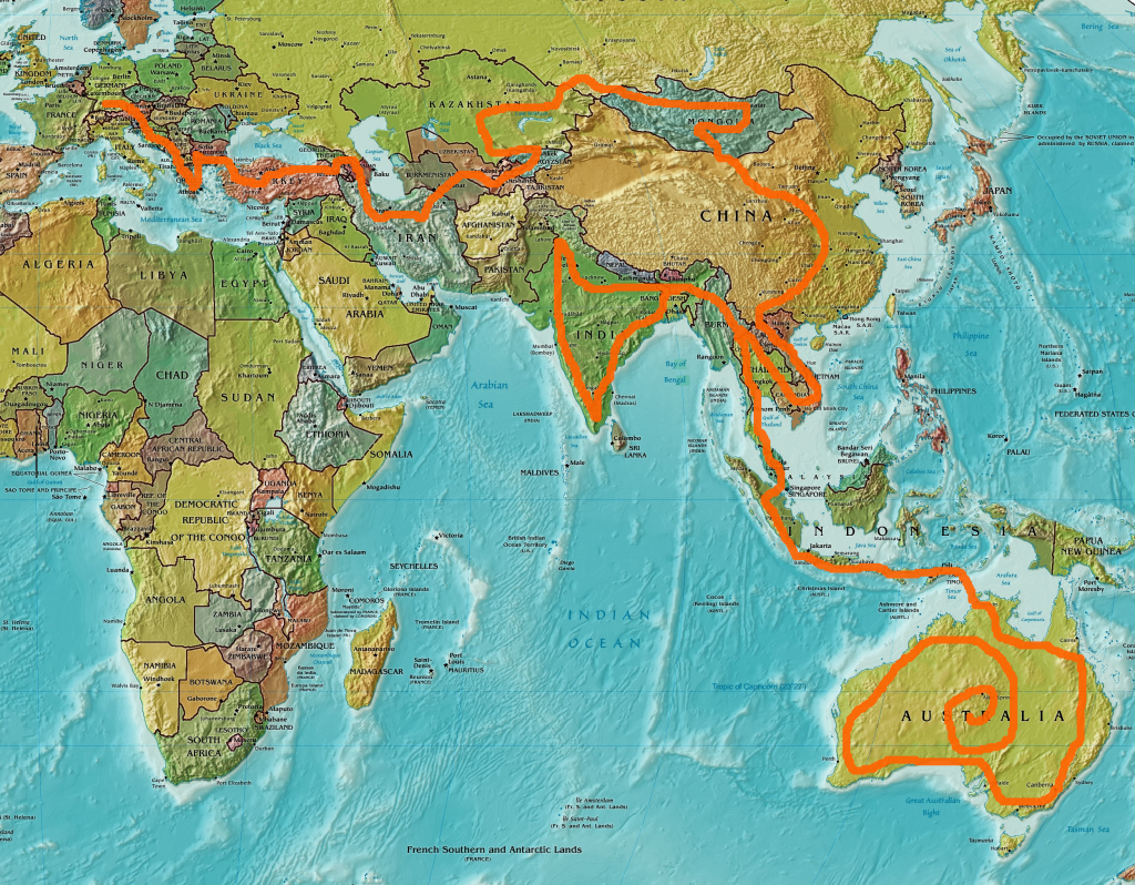 World map with our route - Backroad Vagrants
